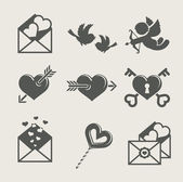 Saint valentine's day set icon — Vetor de Stock