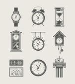 Horloge rétro et moderne réglée icône — Vecteur
