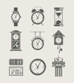 Retro and modern clock set icon — Stok Vektör