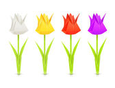 Set of tulips paper origami flowers — Stock Vector
