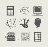 Devices for calculation set icon — Stockvector