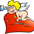 Hand-drawn Vector illustration of an Amor Angel Boy looking for - Stok Vektör