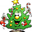 Royalty-Free Stock 矢量图片: Hand-drawn Vector illustration of an Christmas Tree  With a match