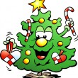 Hand-drawn Vector illustration of an Christmas Tree  With a match — Imagen vectorial