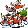 Hand-drawn Vector illustration of an Reindeer Driving Car — Stock Vector