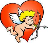 Handgezeichnete vektor-illustration eines amor-engel-jungen — Stockvektor