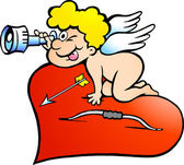 Hand-drawn Vector illustration of an Amor Angel Boy looking for — Stock Vector