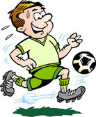 Hand-drawn Vector illustration of an Soccer Player — Stock Vector