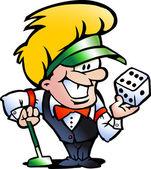 Handritade vektor illustration av en casino croupier — Stockvektor