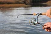 Rybář s rotující — Stock fotografie