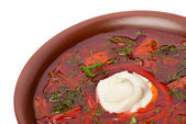 Ukrainian and russian national red soup — Stock Photo
