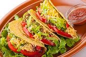 Tacos de carne com salada e tomate salsa — Foto Stock