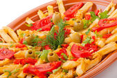 Golden French fries potatoes with tomato and olive — Stock Photo