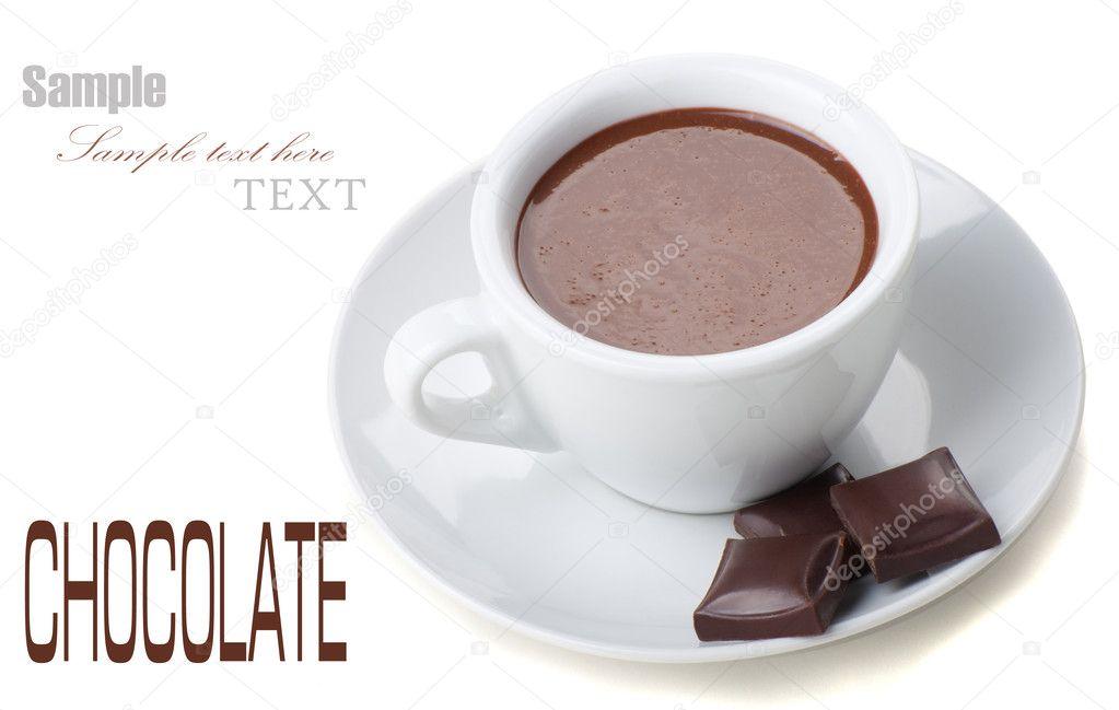 chocolat chaud dans des tasses blancs avec tablette de chocolat photographie julenochek 7937860. Black Bedroom Furniture Sets. Home Design Ideas