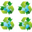 World globe with recycle signs vector — Stock Photo