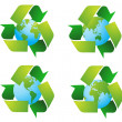 Stock Photo: World globe with recycle signs vector
