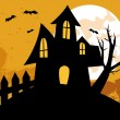 Stock Photo: Halloween background with House