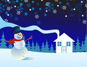 Snowman, vector illustration — Stock Photo