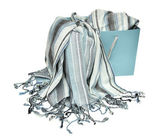 Scarf with blue and grey stripes — Stock Photo