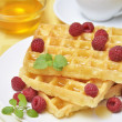 Waffles with raspberryes — Stock Photo #6928308