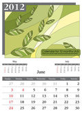 Calendar 2012. June. — Stock Vector