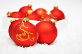Festive red balls — Stock Photo