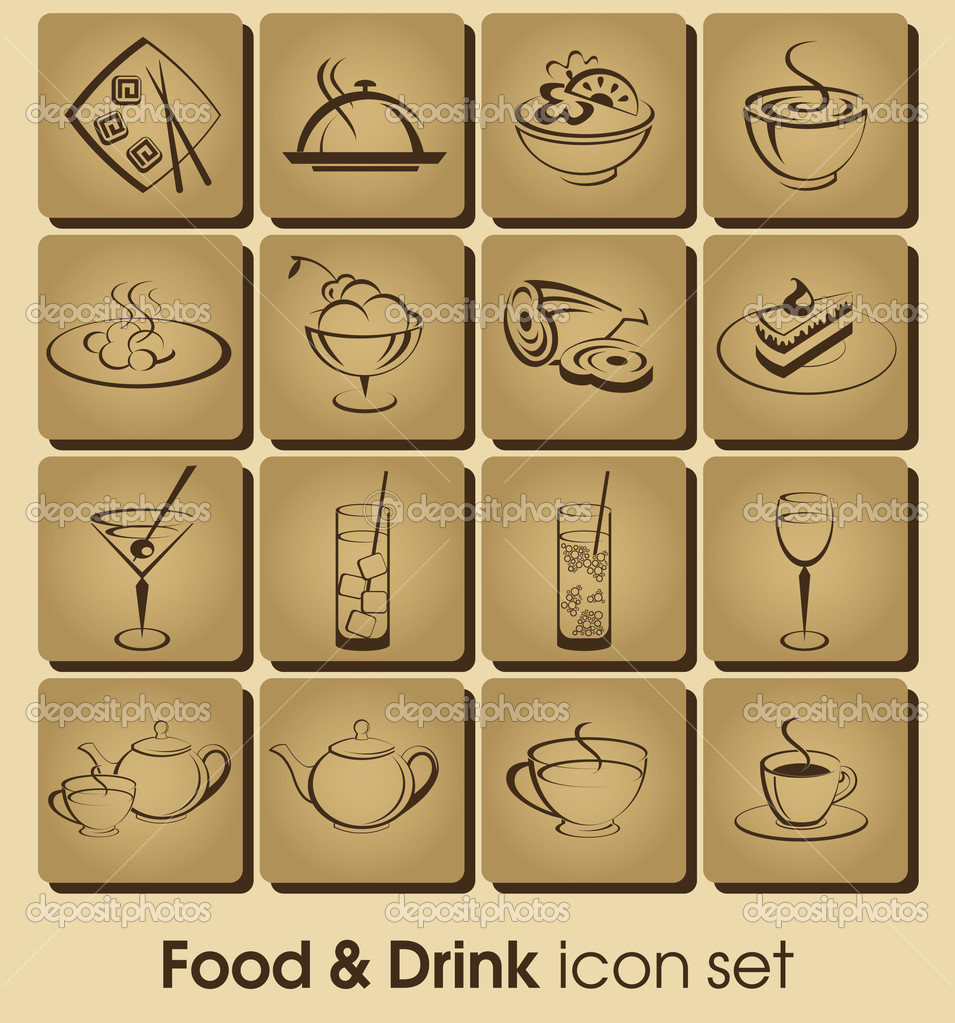 Food and drink icon set stock illustration