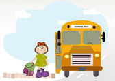 Girl with school bus — Stock Photo