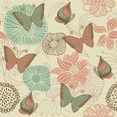 Seamless retro floral background with butterflies — Stock Vector