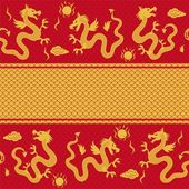 Seamless horizontal pattern of the dragon — Stock Vector