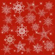 Red seamless background with snowflakes — Stock Vector