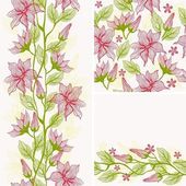 Seamless flower background set — ストックベクタ