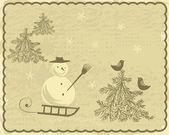 Archiwalne pocztówki zima — Wektor stockowy