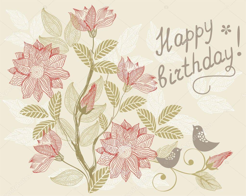 Happy Birthday Cards Retro Retro Floral Card Happy