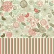 Retro floral seamless background - Imagen vectorial