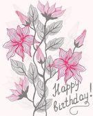 Floral card happy birthday — Stock Vector