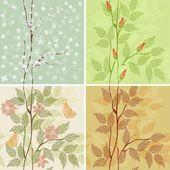 Four seasons - winter, spring, summer, autumn — Stock Vector