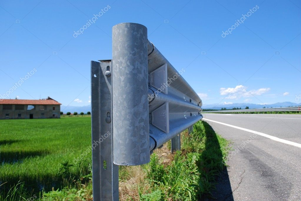 Close up of guard rail on a road in countryside  Zdjcie stockowe #6911432