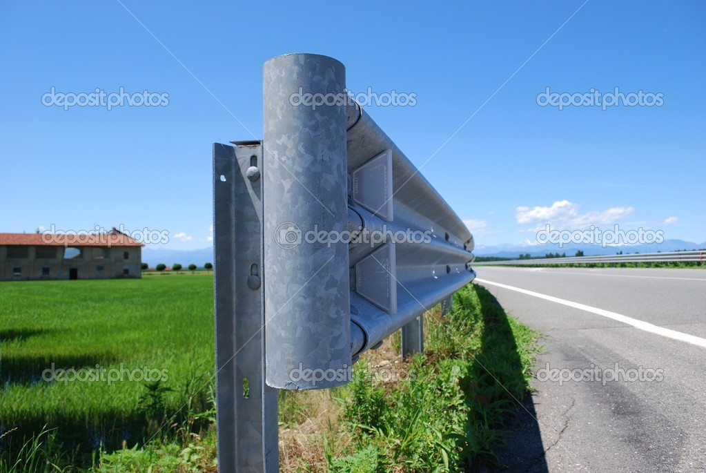 Close up of guard rail on a road in countryside  Foto de Stock   #6911432