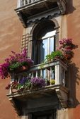 Window with balcony and flowers — Stock Photo
