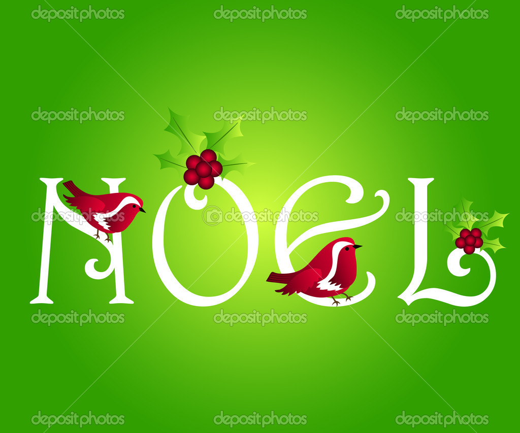 Noel greetings with robin and holly — Stock Photo #7339788