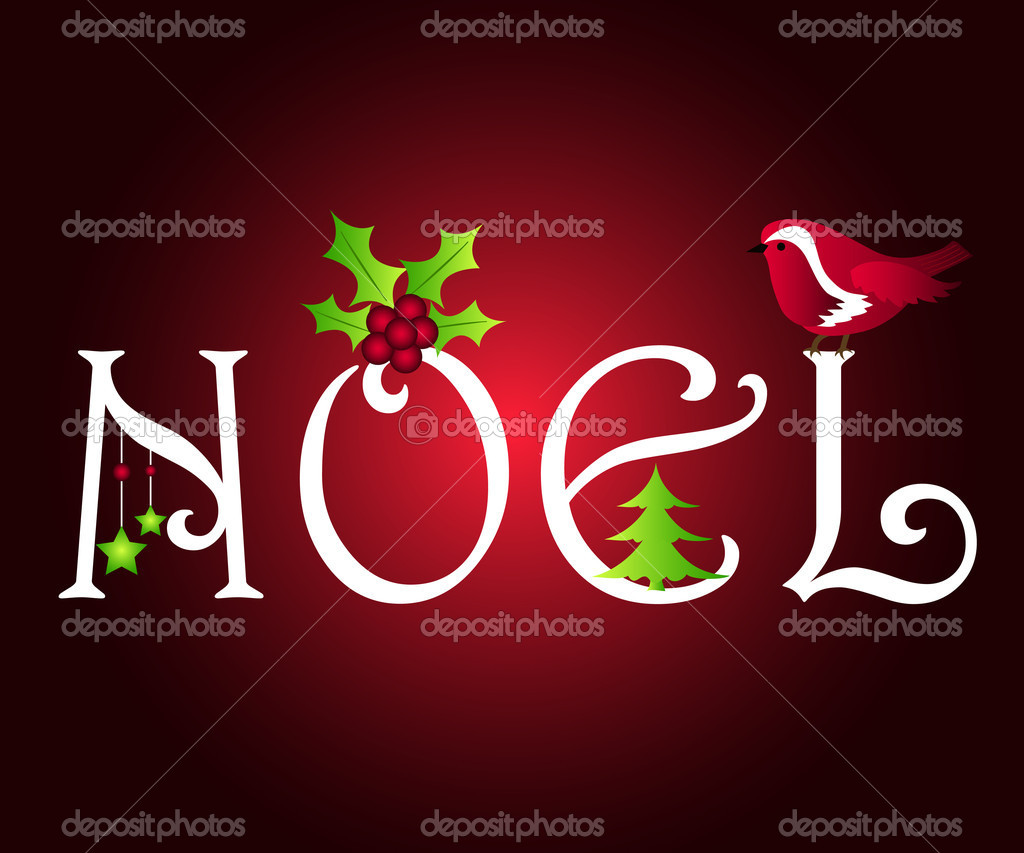 Noel greetings with robin, tree, holly and stars — Stock Photo #7339794