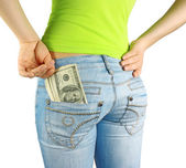 Money in pocket & hand — Stock Photo