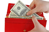 Dollar and wallet in hands — Stock Photo