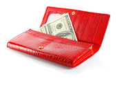 Money in female purse — Stock Photo
