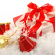 Christmas gift box and bell — Stock Photo #7692564