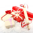 Christmas gift boxes on snow — Stock Photo #7692567