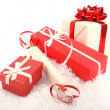 Christmas gift boxes on snow — Stock Photo #7692575