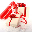 Christmas gift boxes on snow — Stock Photo #7692582