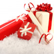 Christmas gift boxes on snow — Stock Photo #7692585